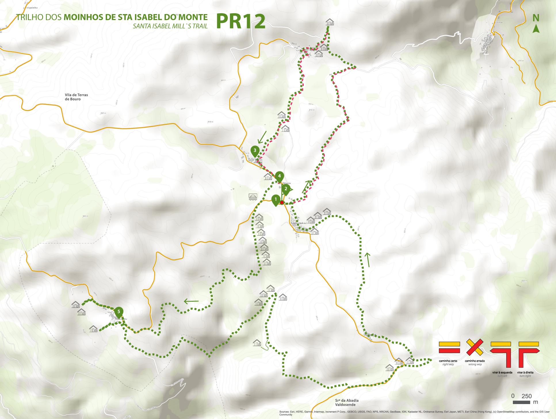 Mapa de Percurso - PR12 Trilho dos Moinhos de Sta. Isabel do Monte
